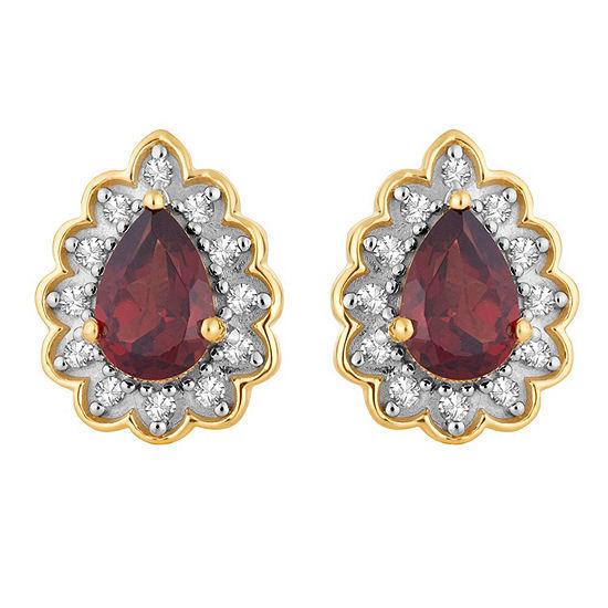 1/10 CT. T.W. Genuine Red Garnet 10K Gold 11.1mm Pear Stud Earrings