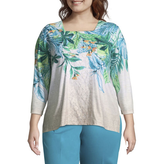 Alfred Dunner Scottsdale Tropical Leaves Tee - Plus