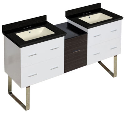 61.5-in. W Floor Mount White-Dawn Grey Vanity SetFor 3H4-in. Drilling Black Galaxy Top Biscuit UM Sink