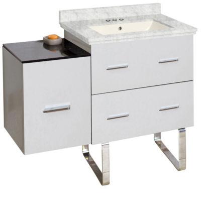 37.75-in. W Floor Mount White Vanity Set For 3H4-in. Drilling Bianca Carara Top Biscuit UM Sink