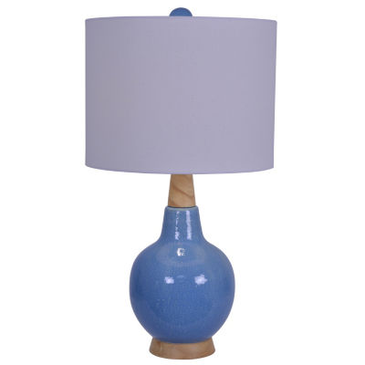 Decor Therapy Sawyer Speckled Ceramic and Wood Table Lamp