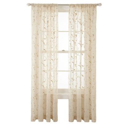JCPenney Home Harmon Sheer Rod-Pocket Single Curtain Panel