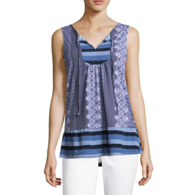 Como Blu Sleeveless Split Crew Neck Jersey Blouse