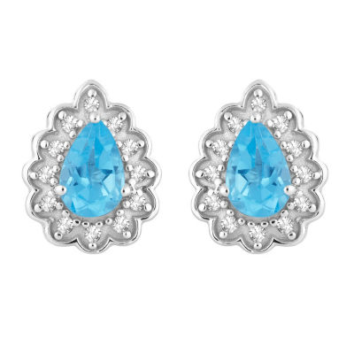 1/10 CT. T.W. Genuine Blue Topaz 10K White Gold 11.1mm Pear Stud Earrings