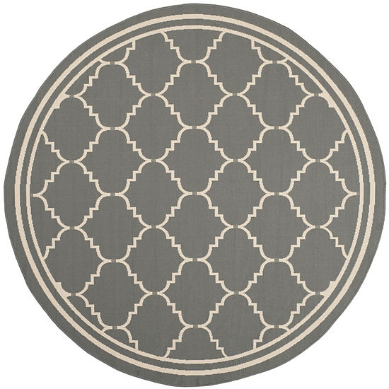Safavieh Courtyard Collection Skin Geometric Indoor/Outdoor Round Area Rug