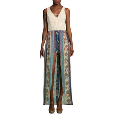 City Triangle Casual Sleeveless Floral Maxi Dress-Juniors