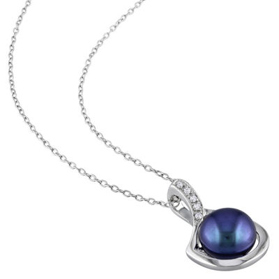 Womens Diamond Accent Black Cultured Freshwater Pearl Sterling Silver Pendant Necklace