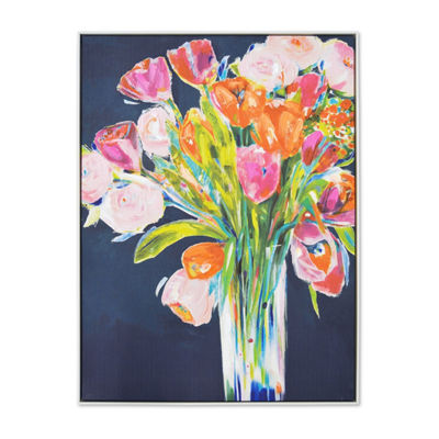 New View Framed Bouquet Embellished Canvas Canvas Art