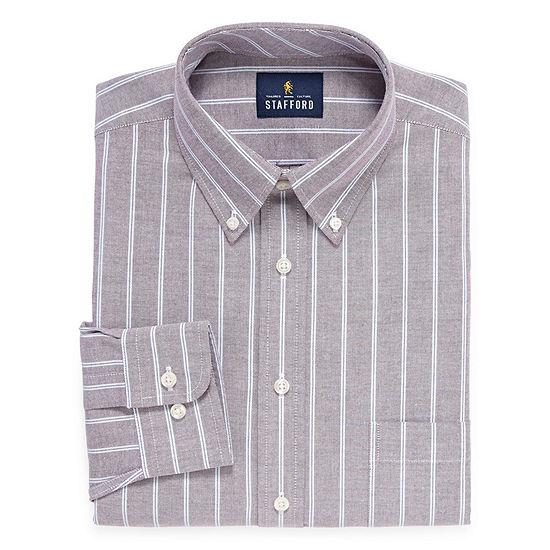 Stafford Travel Wrinkle-Free Stretch Oxford Big and Tall Long-Sleeve Dress Shirt