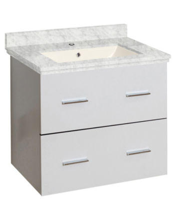 23.75-in. W Wall Mount White Vanity Set For 1 HoleDrilling Bianca Carara Top Biscuit UM Sink