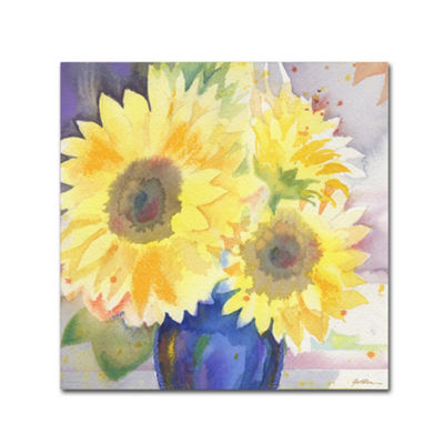 Trademark Fine Art Sheila Golden Sunflower BlossomBouquet by Sheila Golden Painting Print on Wrapped Canvas Giclee Canvas Art