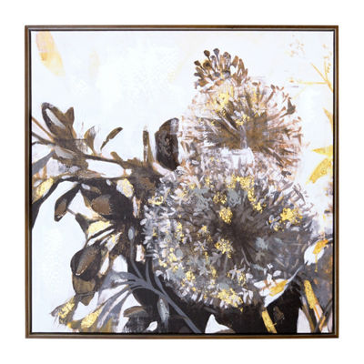 New View Gray Daffodil Framed Embellished Foil Canvas Art