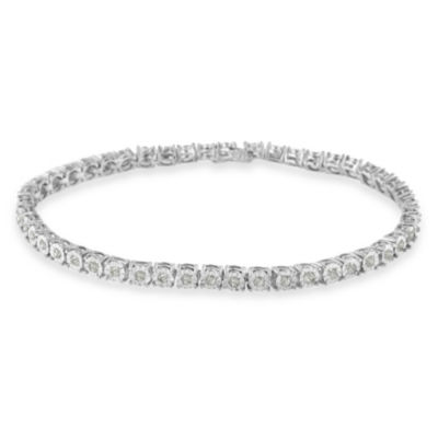 Womens 1 CT. T.W. White Diamond Sterling Silver Tennis Bracelet