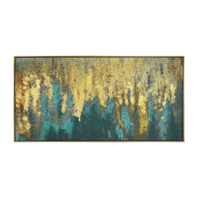 New View Liquid Gold Abstract Embellished Canvas Canvas Art