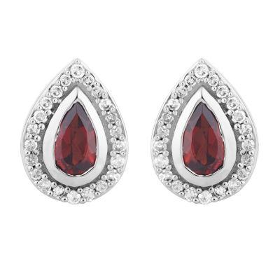 1/8 CT. T.W. Genuine Red Garnet 10K White Gold 9.4mm Pear Stud Earrings
