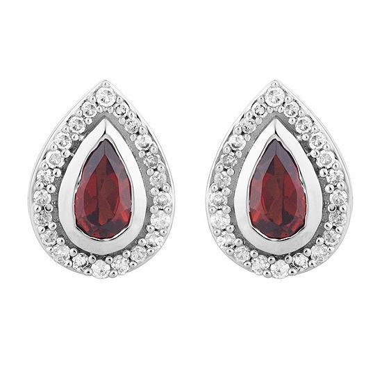 1 8 Ct Tw Genuine Red Garnet 10k White Gold 94mm Pear Stud Earrings
