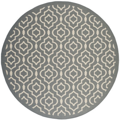 Safavieh Courtyard Collection Meryll Geometric Indoor/Outdoor Round Area Rug