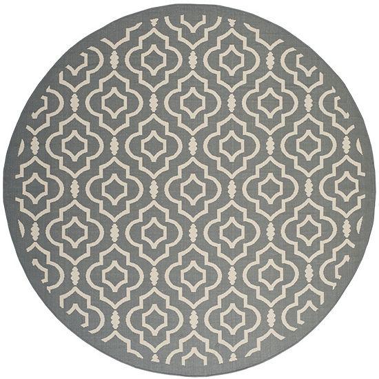 Safavieh Courtyard Collection Meryll Geometric Indoor/Outdoor Round Area Rug