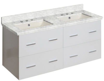 47.5-in. W Wall Mount White Vanity Set For 3H8-in.Drilling Bianca Carara Top Biscuit UM Sink