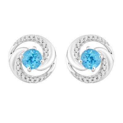 1/10 CT. T.W. Genuine Blue Topaz 10K White Gold 9.3mm Round Stud Earrings