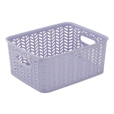 Herringbone Storage Tote - Lilac - Small 10X8X4