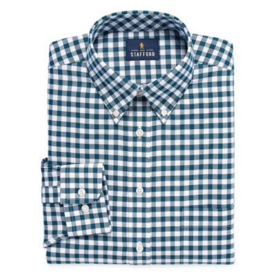 Stafford Travel  Wrinkle Free Stretch Oxford Long Sleeve Oxford Checked Dress Shirt-Big And Tall