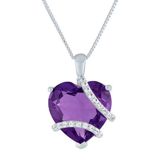 Womens Lab Created Purple Amethyst Heart Pendant Necklace