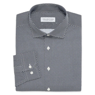 Collection by Michael Strahan  Wrinkle Free Cotton Stretch Long Sleeve Woven Geometric Dress Shirt