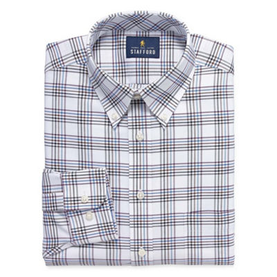 Stafford Travel Wrinkle Free Stretch Oxford Long Sleeve Oxford Windowpane Dress Shirt-Big And Tall