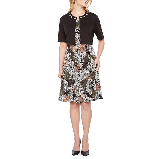 Perceptions-Petite Short Sleeve Midi Jacket Dress