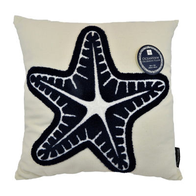Beaded Seastar Square Throw Pillow