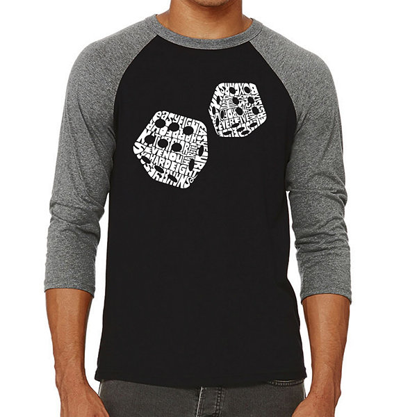 Los Angeles Pop Art Men's Raglan Baseball Word Art T-shirt - DIFFERENT ROLLS THROWN IN THE GAME OF CRAPS