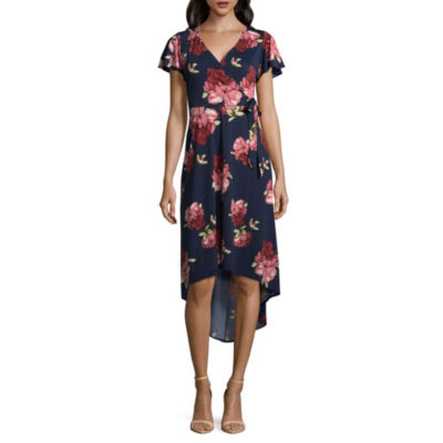 by&by Short Sleeve Floral Wrap Dress-Juniors