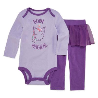 Okie Dokie Unicorn Long Sleeve Bodysuit and Tutu Pant Set - Baby Girl NB-24M