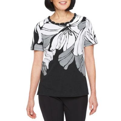 Alfred Dunner Classics Short Sleeve Crew Neck T-Shirt-Womens