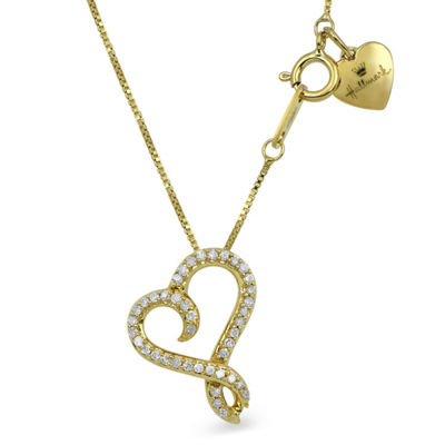 Hallmark Diamonds Womens 1/10 CT. T.W. Genuine White Diamond 14K Gold Over Silver Heart Pendant Necklace