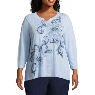 Alfred Dunner Out of the Blue Floral Tee - Plus