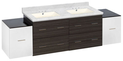 76-in. W Wall Mount White-Dawn Grey Vanity Set For3H4-in. Drilling Bianca Carara Top Biscuit UM Sink
