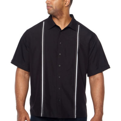 Havanera Essentials Short Sleeve Panel Button-Front Shirt-Big and Tall