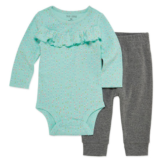 Okie Dokie Rainbow Ruffle Long Sleeve Bodysuit and Pant Set - Baby Girl NB-24M