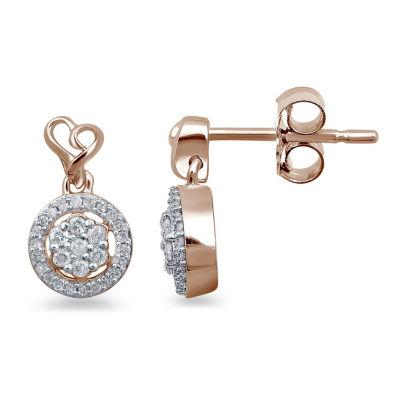 1/4 CT. T.W. Genuine White Diamond 14K Rose Gold Over Silver Heart Drop Earrings