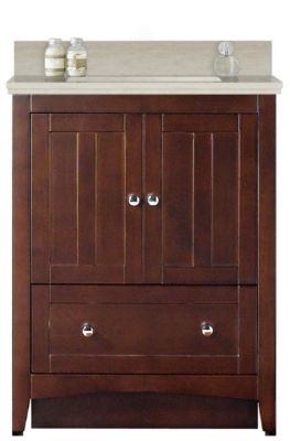 30.5-in. W Floor Mount Walnut Vanity Set For 3H8-in. Drilling Beige Top White UM Sink