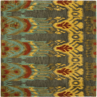 Safavieh Ikat Collection Euclid Geometric Square Area Rug
