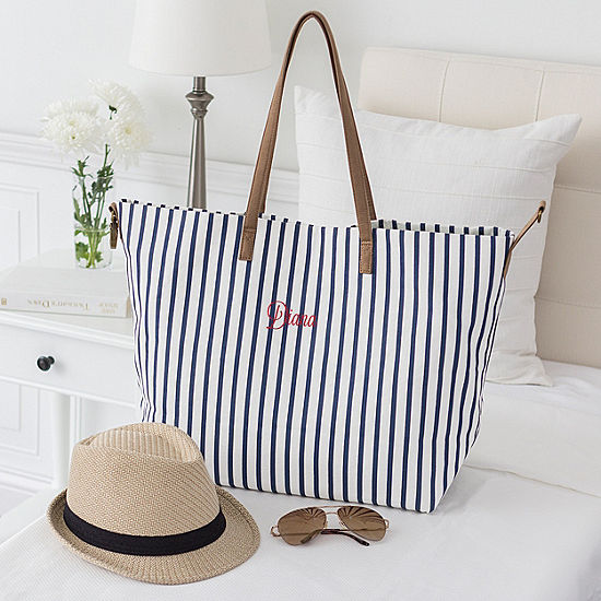Cathy's Concepts Personalized Striped Overnight Tote