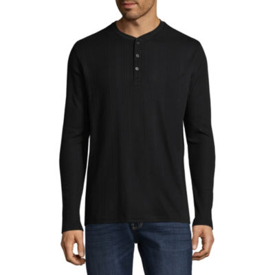 Claiborne Drop Needle Mens Henley Neck Long Sleeve T-Shirt
