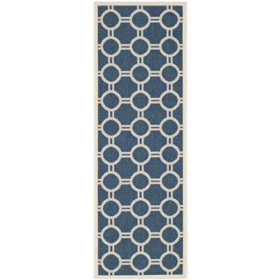 Safavieh Courtyard Collection Shag Geometric Indoor/Outdoor Runner Rug