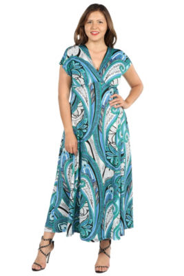 24Seven Comfort Apparel- Plus Gisele Green and Blue Empire Waist Maxi Dress - Plus
