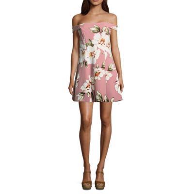 Speechless Short Sleeve Floral A-Line Dress-Juniors