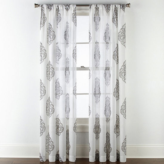 JCPenney Home Parkwood Damask Sheer Rod-Pocket Single Curtain Panel