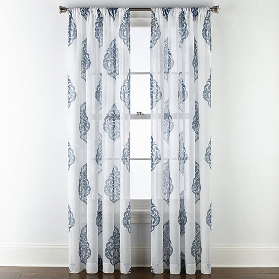 JCPenney Home Parkwood Damask Sheer Rod-Pocket Curtain Panel
